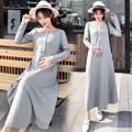 Осень-зима для беременных и кормящих платье связей талии Высокая Талия Беременность одежда для кормления для беременных Для женщин грудног...