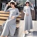 Otoño Invierno maternidad vestido de lactancia cintura lazos alta cintura embarazo lactancia vestidos para mujeres embarazadas lactancia ropa