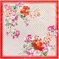 90 cm * 90 cm nueva bufanda G carta de flores de la señora de la bufanda de seda toalla cuadrada