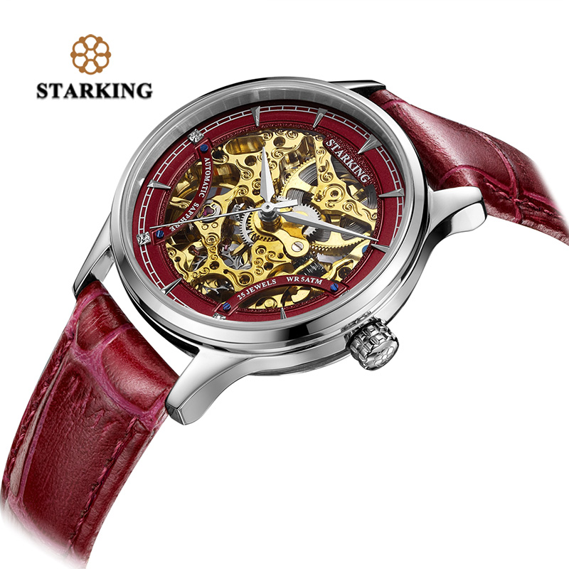 STARKING Top Brand Women watches Skeleton Automatic Mechanical Watch Luxury Red Genuine Leather Strap Sapphire WristWatch Analog famous brand winner watch woman leather strap automatic mechanical watches women skeleton mechanical wristwatch hodinky