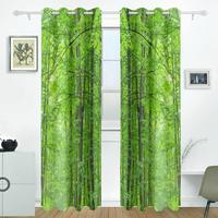 Green Forest Tree Curtains Drapes Panels Darkening Blackout Grommet Room Divider For Patio Window Sliding Glass