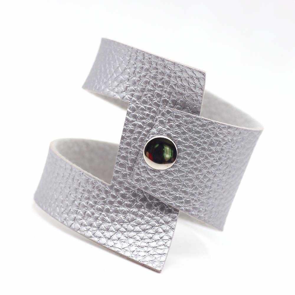 Новинка 2019, 5 цветов, роскошные панк браслеты для женщин, серебряные на выбор, дизайнерские украшения из кожи изготовленные вручную, Рождественский подарок
