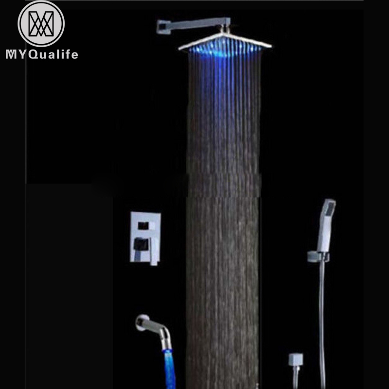 Wall Mount LED Light Shower Faucet Sets Chrome Concealed Bath Shower Mixer tap with Handshower Color Changing Spout