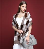 scarf luxury cape fur scarves fashion 100% Cashmere with mink fur scarf,genuine fur autumn winter female women pashmina S1501