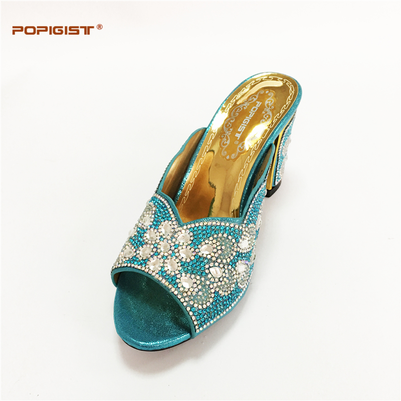 New Arrival Teal Color Italian Ladies Shoe And Bag Set Decorated With Rhinestone Nigerian Wedding Shoes For Women In Womens Pumps From On