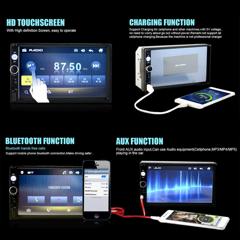 """カーラジオ 7 """"HD プレーヤー MP5 タッチスクリーン Bluetooth マルチメディア USB/AUX 2din Autoradio オーディオバックアップカメラ 7010B"""