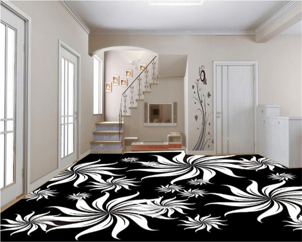 beibehang High fashion simple papel de parede 3d wallpaper vector black and white art pattern indoor personality floor painting beibehang walking cloud 3d floor tile tile customization large fresco pvc thick wear resistant floor cover papel de parede