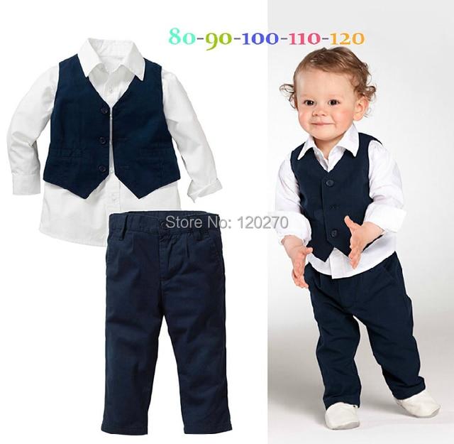 e1ffcfa87a93 Free Shipping Autumn Gentleman Baby Boys Shirt Waistcoat Vest Trousers  Pants 3 Piece Suit Infant Toddler Children s Outfits Sets