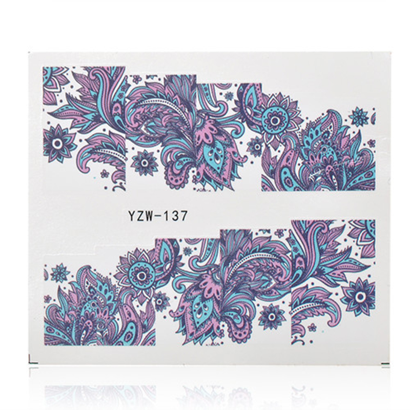 nail art decorations 2 Patterns/Sheet Blooming Flower Nail Art Water Decals Transfer Sticker sliders for nails YZW-137  2016 trendy fabric blooming peony flower corsage brooch woman hair decorations