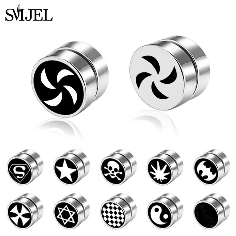SMJEL Rock Strong Magnet Magnetic Health Care Ear Stud Non Piercing Earrings Skull David Star Tai Chi Earings Jewelry Mens Women
