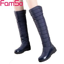 Free shipping 2017 Women Down Boots Winter Female Waterproof knee high Boots Women's Russia and Australia Snow Boots SBT2128
