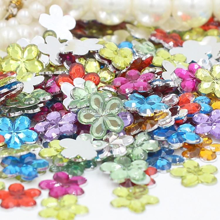 Бесплатная доставка 1600 шт./пакет 10 мм Смешанные Цвет цветочный дизайн акрил горный хрусталь плоской задней Дизайн ногтей Стразы для DIY
