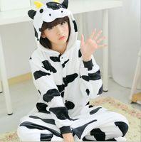 Hot New Unisex Adult Pajamas Anime Cosplay Costume Onesie Sleepwear Milk Cow Animal Pyjamas
