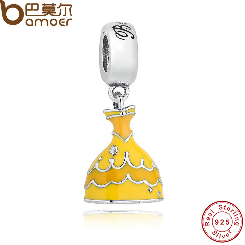 2019 Neuestes Design Bamoer Original 925 Sterling Silber Belle Der Gelb Kleid Baumeln Anhänger Fit Armband & Halskette Klassische Geschichte Pas223