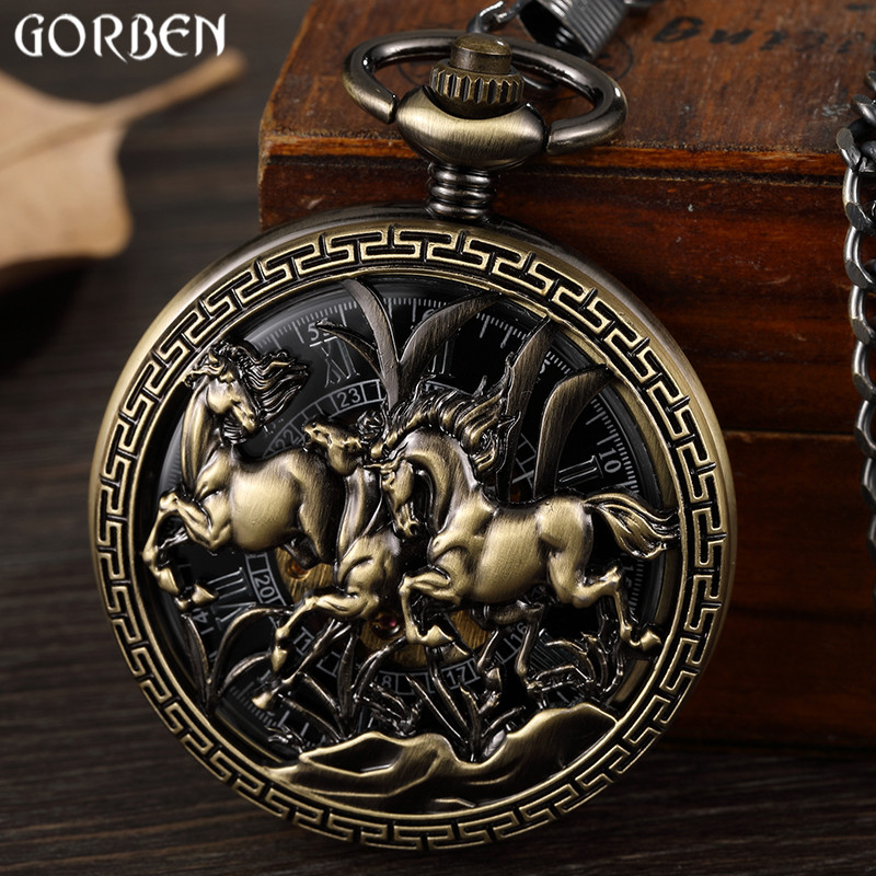 Retro Hollow Horse Design Pocket Watch Mens Unique FOB Chain Roman Dial Steampunk Bronze Skeleton Mechanical Hand Wind Men Watch retro luxury gold smooth mechanical pocket watch fob chain roman dial hand wind steampunk hand wind pocket watch male clock gift