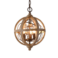 Umeiluce 3/5 Lights Vintage Wood Chandelier Retro Iron Crystal Hanging Lamp for Coffee Bar Dining Living Room E12/E14