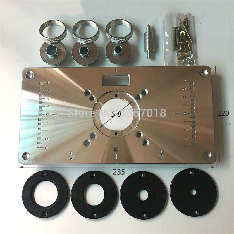 1pc/set 700C Aluminum Plate With 4Pcs Insert Rings Wood Router Table For Woodworking Trimmers Routers DIY Engrving Machine