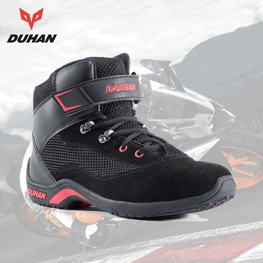 DUHAN Motorcycle Boots Men Summer Mesh Moto Boot Racing Street Motocross Motorcycle Shoes Breathable Botas Moto Protective Gear