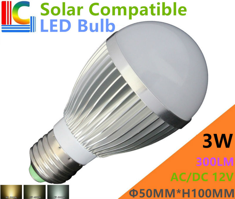 Solar Compatible 3W LED Bulb 12V High Power LED Light Bulb 300LM PWM Dimmable Home Lighting CE E27 Indoor LED Lamps 4PCs/Lot