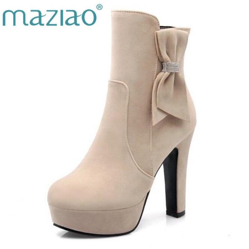 776ad23cf3fdfc Beige Épais noir Bottes Cheville noeud Carré rouge Chaussures Papillon  forme Zipper Talon Beige Confortable Femmes D'hiver Maziao ...
