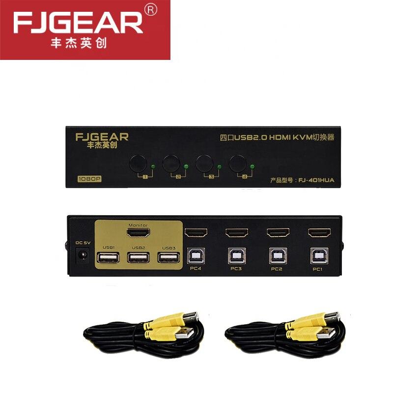 USB HDMI KVM commutateur 4 ports sans câble, PC moniteur clavier souris commutateur prise en charge Hotkey Auto Scan 1080 P