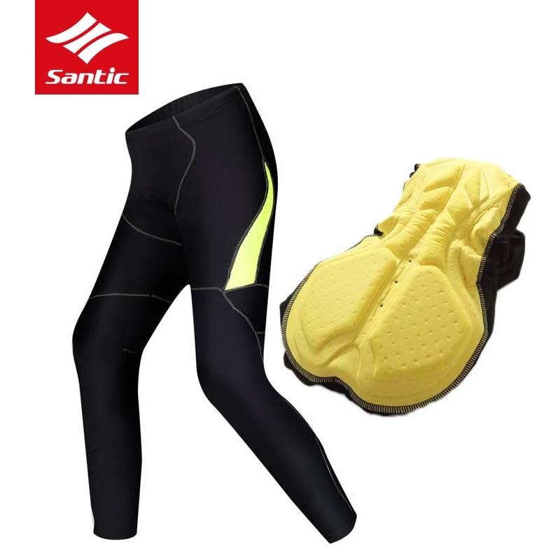 Santic Cycling Pants Men 2018 Winter Fleece Warm MTB Bike Bicycle Trousers PRO Pads Racing Downhill Pants Pantalones Ciclismo