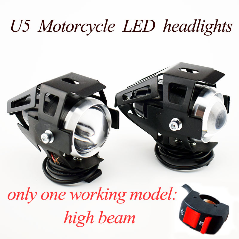 2PCS Motorcycle U5 LED Headlight Motorbike Spotlight Auxiliary Work Lamp Only One Model High Beam 12V 125W Motor DRL Head Lights
