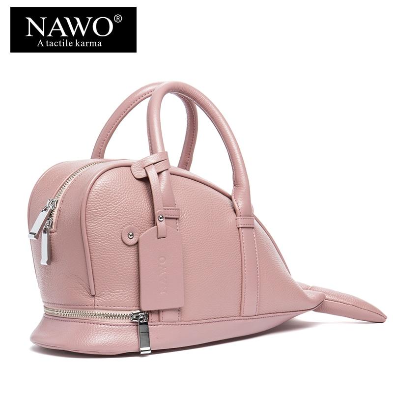 ФОТО NAWO Cow Genuine Leather Character Women Shoulder Bags Cartoon Fish Shape Female Crossbody Bags Designer Handbags Sacoche Femme