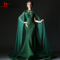 Robe De Soiree 2016 Arabic Vintage Prom Dresses Sexy Mermaid Dark Green Crystal Pearls Amazing Formal Evening Gown With Shawls