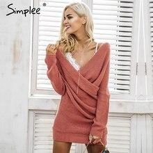 V neck Women elegant long sleeve pullover female dress Autumn casual jumper