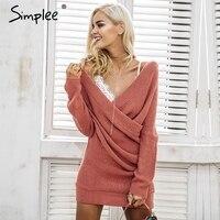 Simplee Sexy V Neck Cross Knitting Winter Sweater Women Elegant Long Sleeve Pullover Female Autumn Winter