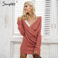 Simplee Sexy V Neck Cross Knitting Winter Sweater Women Elegant Long Sleeve Pullover Female Autumn Winter