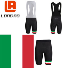 New Italy team LONG AO short sleeve cycling bib shorts or black with blue perforated silicone pad
