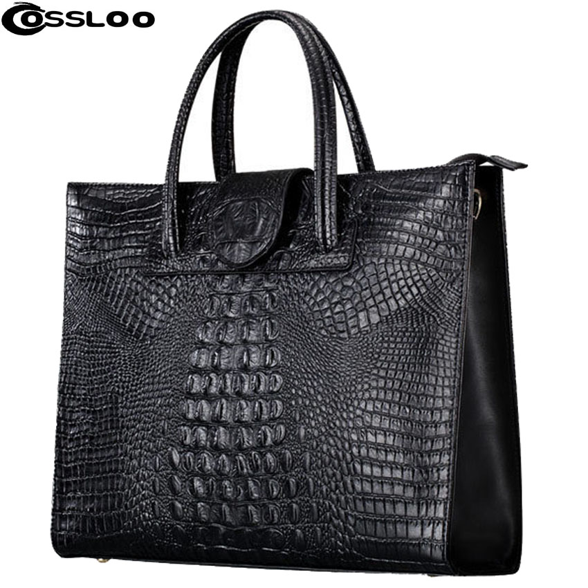 COSSLOO Women Leather Handbags crocodile pattern shoulder bag Genuine Leather Famous Brand luxury handbags women bags designer