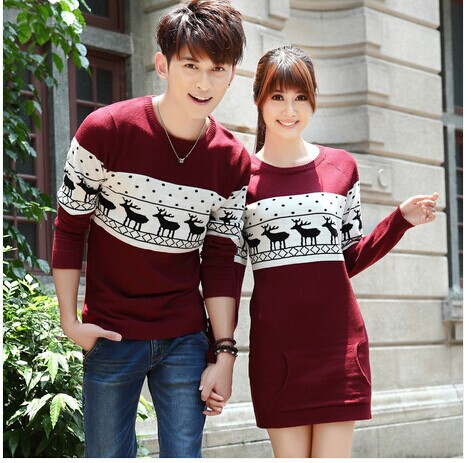 Smthma 2019 Winter Runway Men's /women Long Sleeve Wine Red  Pullovers Matching Deer Couple Christmas New Year Sweaters #1