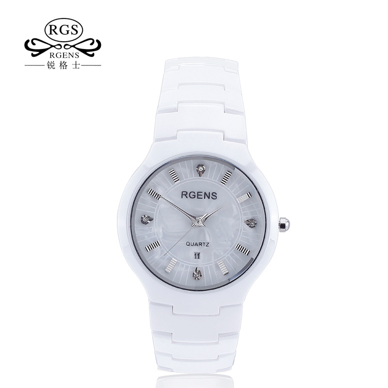 RGENS Original Womens Ceramics Watch White Black Ladies Watches Casual Waterproof Female Wristwatches Luxury Diamond Brand 5503