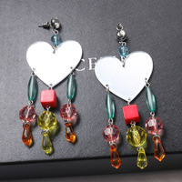 2017 Europe And The United States Fashion Exaggerated Large Mirror Wild Love Color Beaded Tassel Earrings