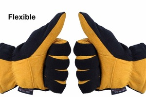 Image 5 - Winter Gloves, OZERO Cold Proof Thermal Glove   Deerskin Suede Leather Palm and Polar Fleece Back with Heatlok Insulated