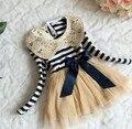 Girl Dresses 33003 Sequins Collar Stripe Gauze Long Sleeve Princess Dresses Red Blue