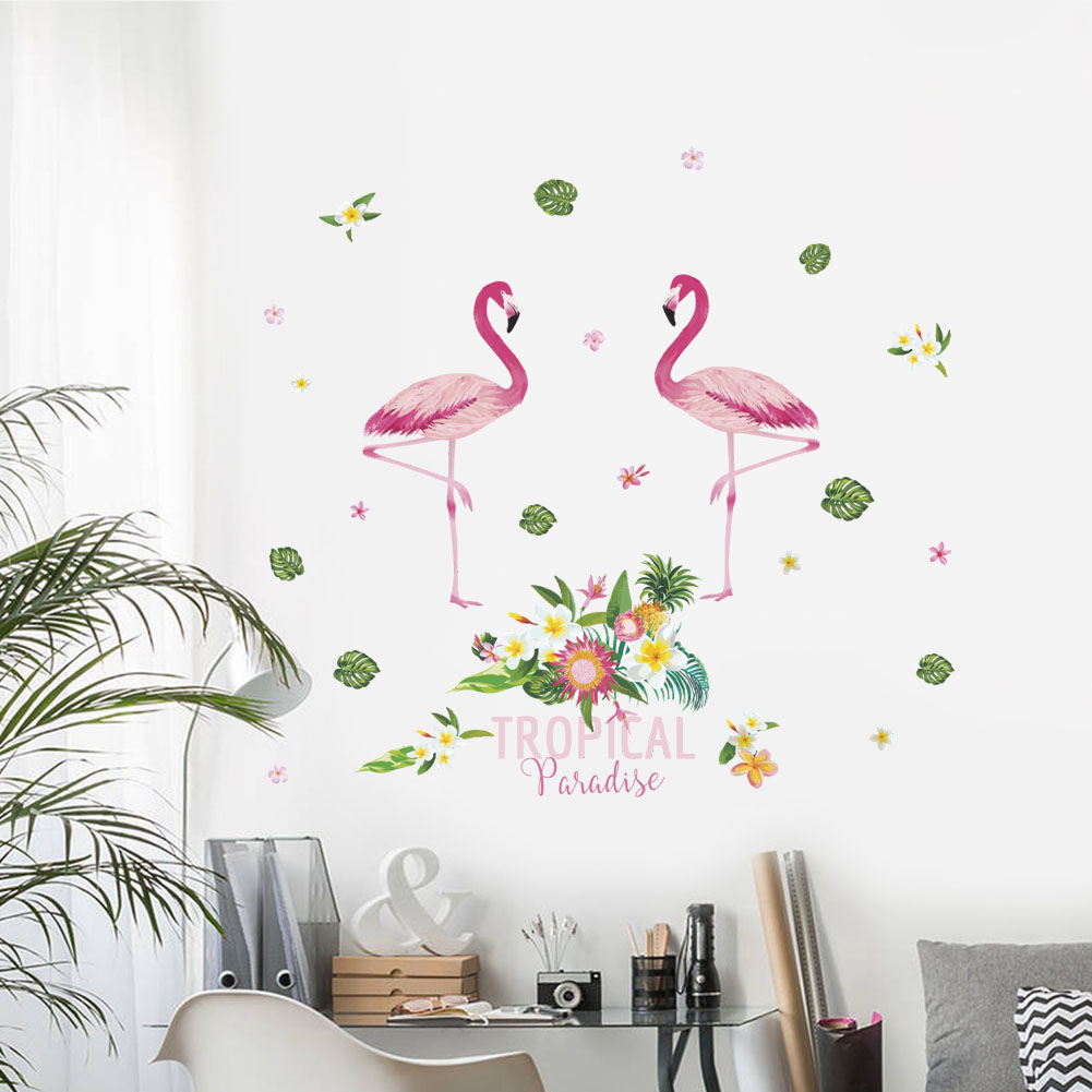 Colorful Flamingo Height Measure Wall Stickers For Kids Rooms Wall Decals Growth Chart Bedroom Wall Decal Pvc Mural Art Diy
