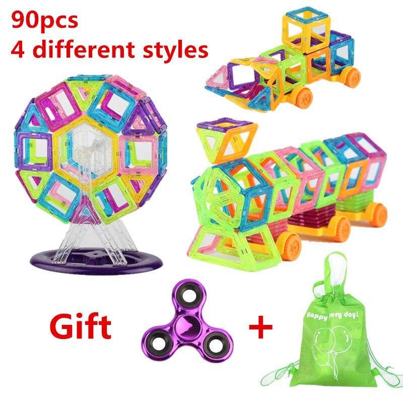 90 ШТ. 4 различных стилей Мини размер Магнитные строительные блоки строительные игрушки для малышей Дизайнерские магнитные игрушки Подарок Для Детей