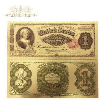10 sztuk partia ładne amerykański banknotów 1891 rok USD 1 dolara w 24 k pozłacane fałszywe pieniądze papierowe do kolekcji tanie i dobre opinie Antique sztuczna Patriotyzmu FGHGF 7days after you paid America Souvenir collection Gold
