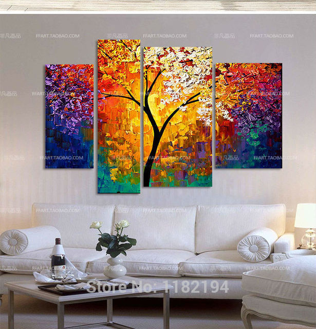 4 Pcs Sets Handpainted Oil Painting Wall Art Modern Home Living Hall Decoration Acrylic Color
