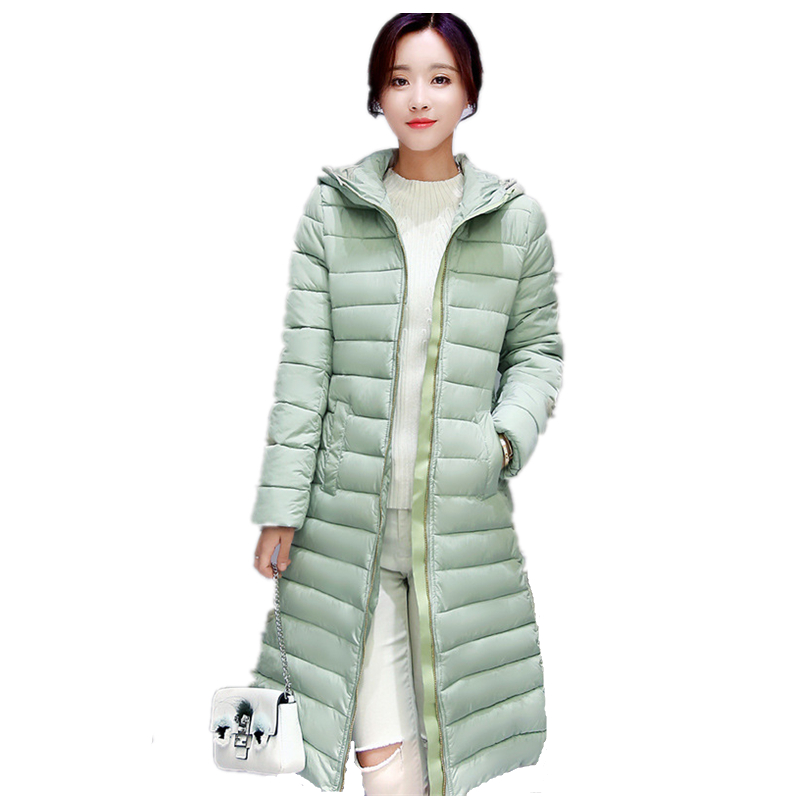 2016 new fashion Winter women Down cotton coat Long section thick warm cotton jacket  Zipper Casual Coat winter women down cotton coat long section thick warm cotton jacket solid color wild pockets zipper casual jacket loose parka