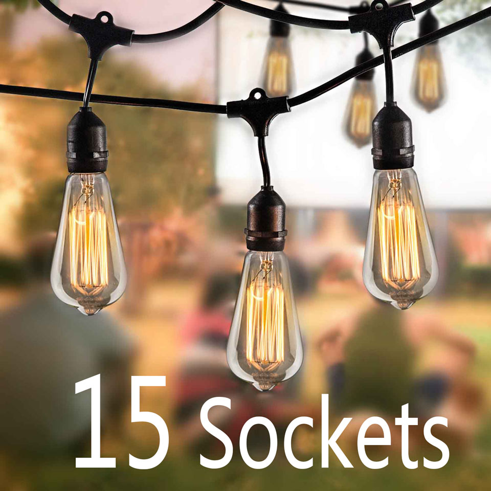 48 Foot Weatherproof Outdoor String Lights  E26/E27 Commercial Grade Heavy Duty Strand Lighting Perfect for Market Cafe Backyard 24 feet outdoor string lights weatherproof commercial grade outdoor lights with 12 hanging sockets and 18 edison bulb 11w