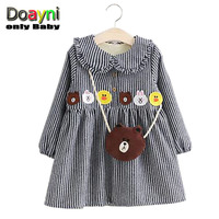 Doayni Baby Girls Winter Velvet Dress Peter Pan Collar With Appliques Cartoon Striped Kids Clothing Sets