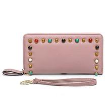 New Women Wallets Long Zipper Wallet Rivets Ladies High Capacity Handbags Candy Color PU Leather Female Fashion Long Wallet