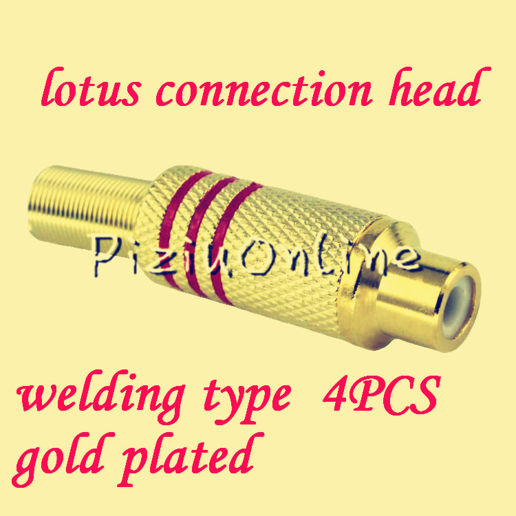 4PCS  YT132   High quality gold plated RCA socket Two color half and half  red and black  RCA Female connector  Free shipping gold plated socket pixhawk px4 247