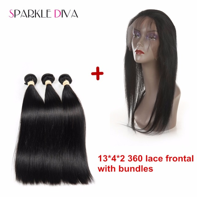 8A Brazilian Virgin Hair 13x4x2 360 lace frontal With Bundles Cheap Human Hair Weave Straight 360 lace Band Virgin Hair 3Bundles