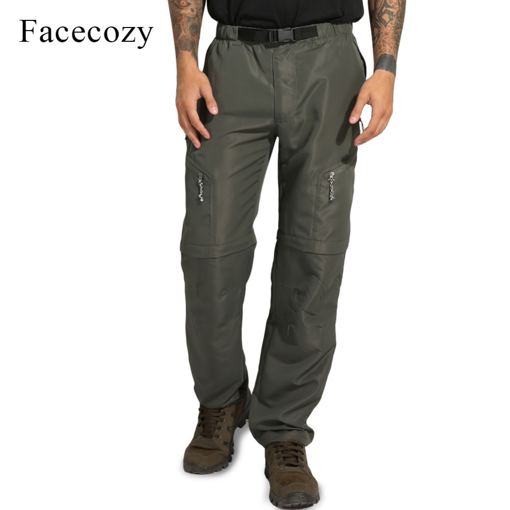 Facecozy Men 2019 Summer Outdoor Fast Dry Hiking Pants Male Anti-UV Sports Travel Fishing Climbing Convertible Shorts Trousers